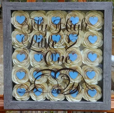 """Fly High Little One"" Cream and Blue Infant / Baby Loss Memorial Shadow Box"
