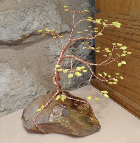 Yellow Howlite and Agate Gem Tree