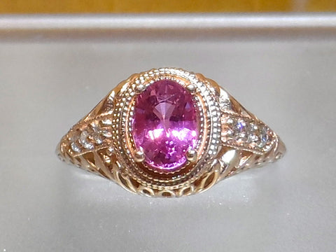 "Vintage design cast in 14k. rose Gold with hot pink Sapphire and 6 white Diamonds .""The Duchess"""