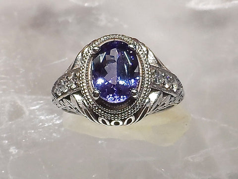 "Tanzanite and Diamonds ""The Duchess"" Vintage design with a 1.98 ct. deep blue-violet Tanzanite accented with  6 round Brilliant cut Diamonds SI1-clarity, G-H color. Total Diamond weight approximately   .20carat.    14k. white gold."