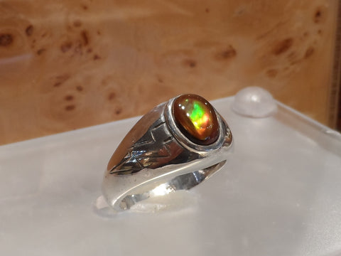 Men's Fire Agate Sterling Silver Ring