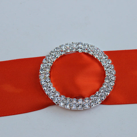 Double Layered Rhinestone Belt Slider - 2 inches diameter