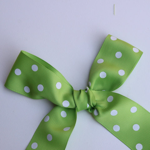Grosgrain Polka Dot Apple Green Ribbon 1.5 in - Apple Green Polka Dot Ribbon 5 Yards or more Green Grosgrain Ribbon