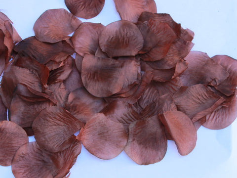 Brown Rose Petals - Silk Rose Petals - 100 Rose Petals for Party Decor and Tutu making