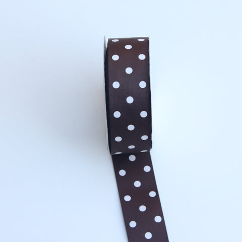 Grosgrain Polka Dot Brown Ribbon 1.5 in - BrownPolka Dot Ribbon 5 Yards or more Brown Grosgrain Ribbon