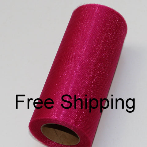 Fuchsia Shimmer Tulle Roll - 6 in X 25 yards - Glimmer tulle roll - Free Shipping - Fuchsia shining tulle rolls