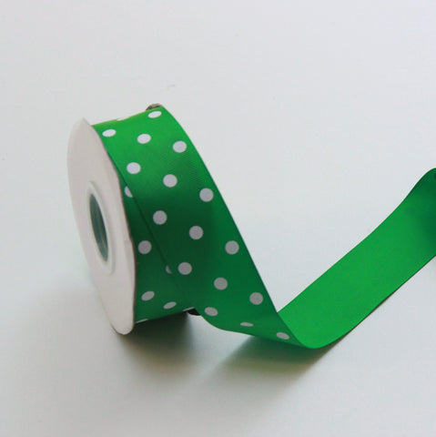 Grosgrain Polka Dot Green Ribbon 1.5 in - Green Polka Dot Ribbon 5 Yards or more Green Grosgrain Ribbon