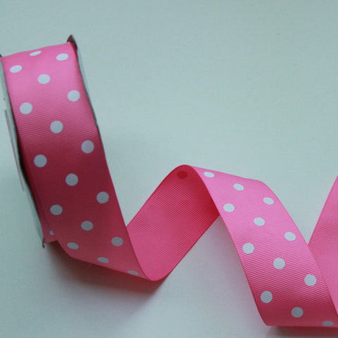 Grosgrain Polka Dot Hot Pink Ribbon 1.5 in - Pink Polka Dot Ribbon 5 Yards or more Hot Pink Grosgrain Ribbon