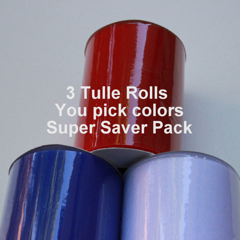 3 Tulle Rolls - You pick colors - Super saver tulle rolls - 6 X 100 yd cheap tulle rolls