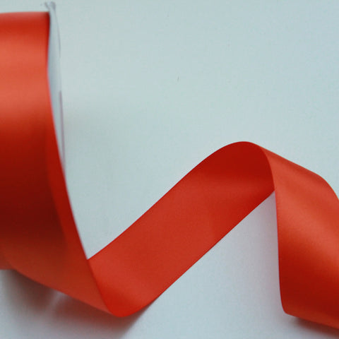 Shipped Free - Double Faced Satin Ribbon 1.5 in - Orange Satin Ribbon 5 Yards or more - Double Faced Orange Satin Ribbon