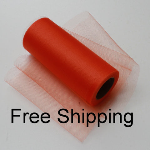 Orange Shimmer Tulle Roll - 6 in X 25 yards - Glimmer tulle roll - Free Shipping - Orange shining tulle rolls
