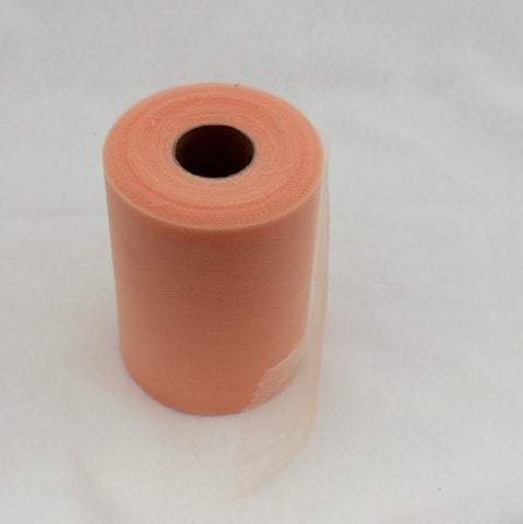 Tulle Roll - Peach tulle roll - 6 inches - 100 yard - Peach rolls - tulle rolls - Peach wedding decor - Peach tulle roll - Tulle Spool 100 yard