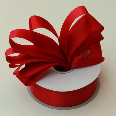Shipped Free - Double Faced Satin Ribbon 1.5 in - Red Satin Ribbon 5 Yards or more - Double Faced Red Satin Ribbon