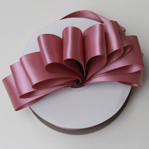 Shipped Free - Double Faced Satin Ribbon 1.5 in - Rosy Mauve Satin Ribbon 5 Yards or more - Double Faced Rosy Mauve Satin Ribbon