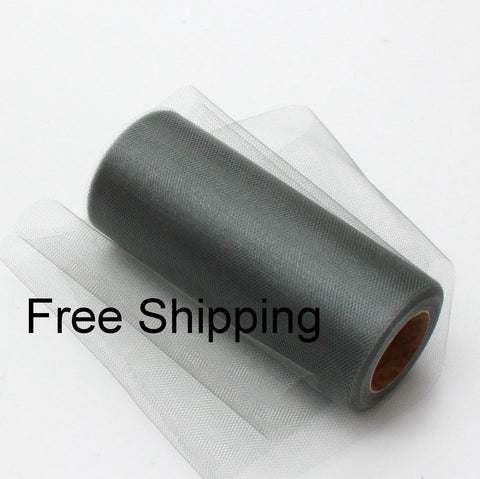 Silver Shimmer Tulle Roll - 6 in X 25 yards - Glimmer tulle roll - Free Shipping - Silver shining tulle rolls