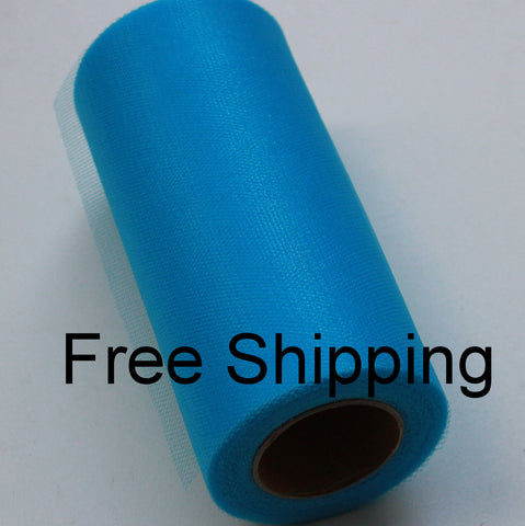 Turquoise Shimmer Tulle Roll - 6 in X 25 yards - Glimmer tulle roll - Free Shipping - Turquoise shining tulle rolls