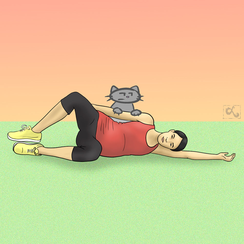 illustration of pregnant chinese woman doing exercises