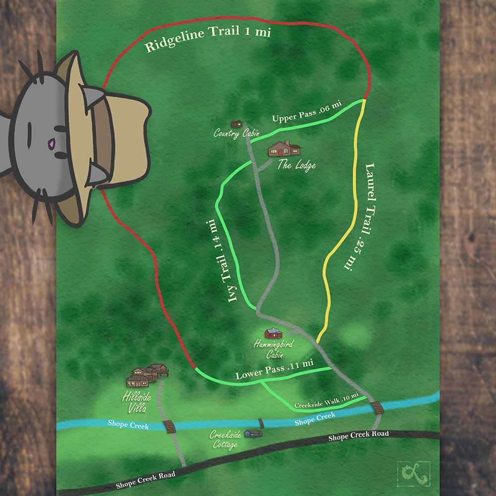 Hiking Trail Map Illustration for High Country Retreat