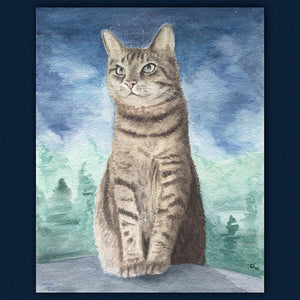 cat painting watercolor cat art pet portrait