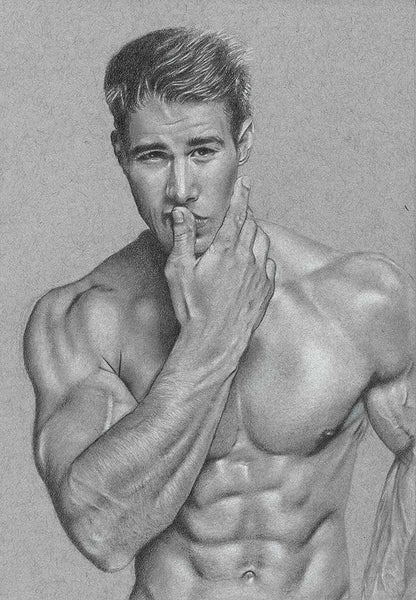 male model pencil sketch photorealistic drawing