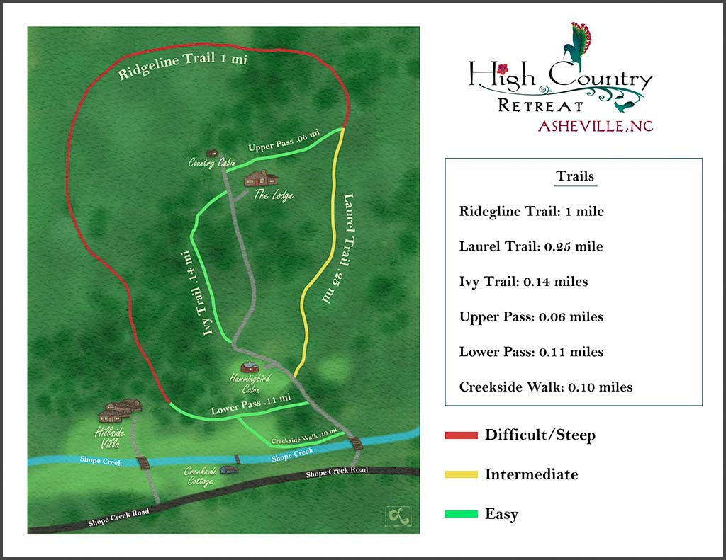 high country retreat hiking map illustrated hiking trail map watercolor map