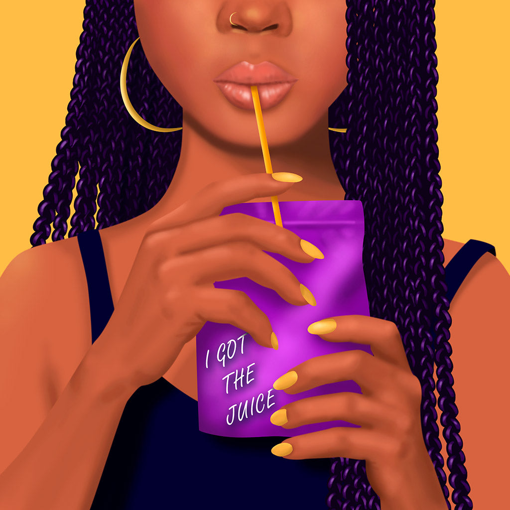 podcast cover art black girl drinking juice pouch