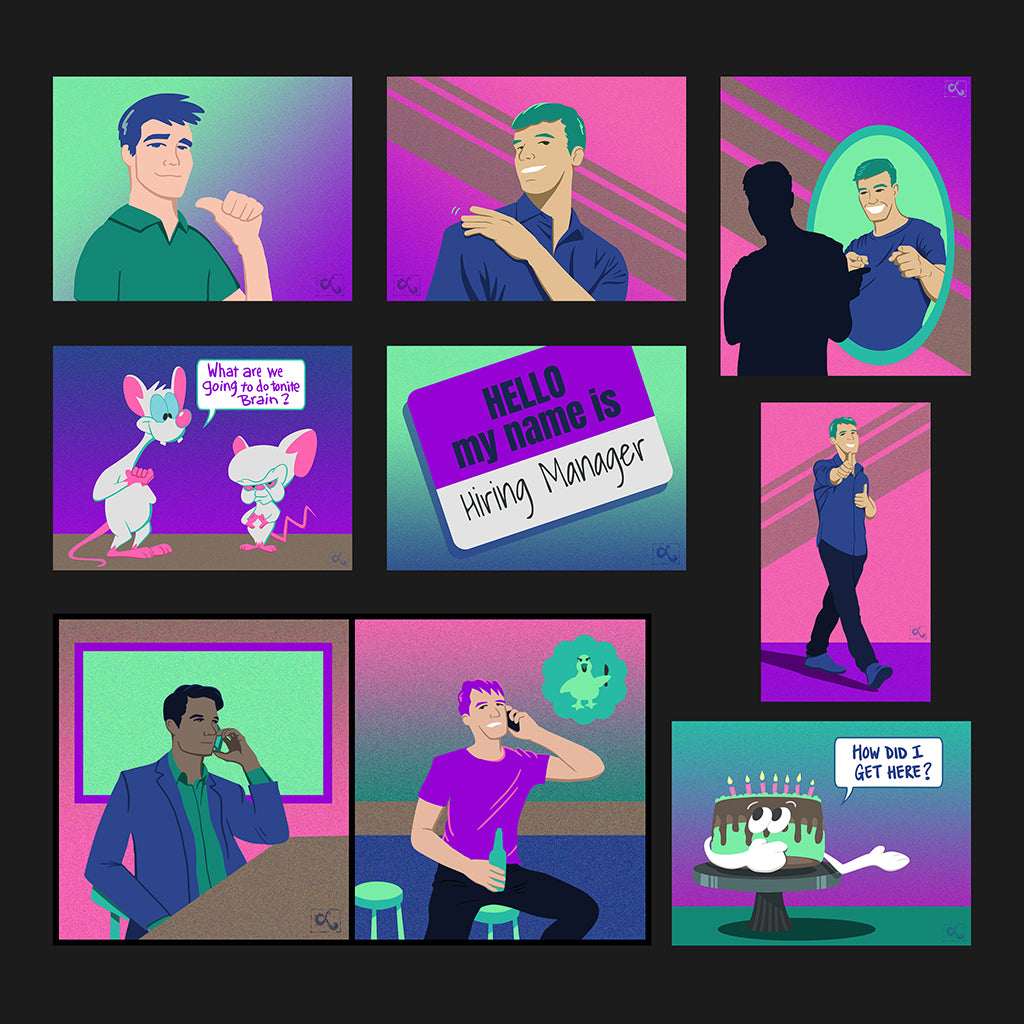 fun illustrations for hiring recruitment book neon colors