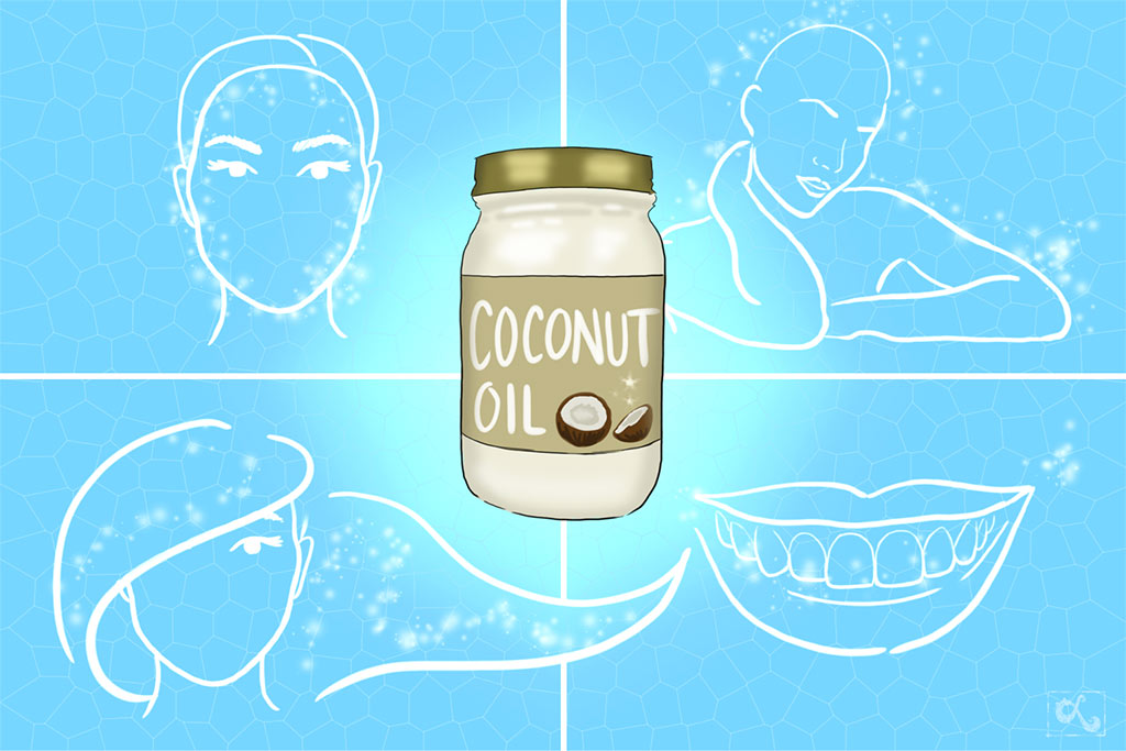 coconut-oil-for-hair-the-knot-lifestyle-beauty-article-illustration-shiny-hair-oil-beauty-art