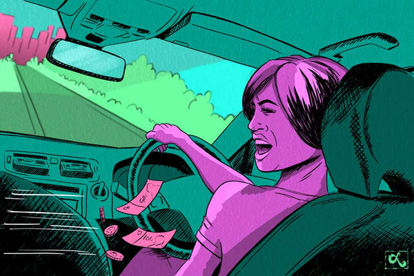 story illustration riding up front singapore rideshare driver rude customer ang moh loraine yow illustration