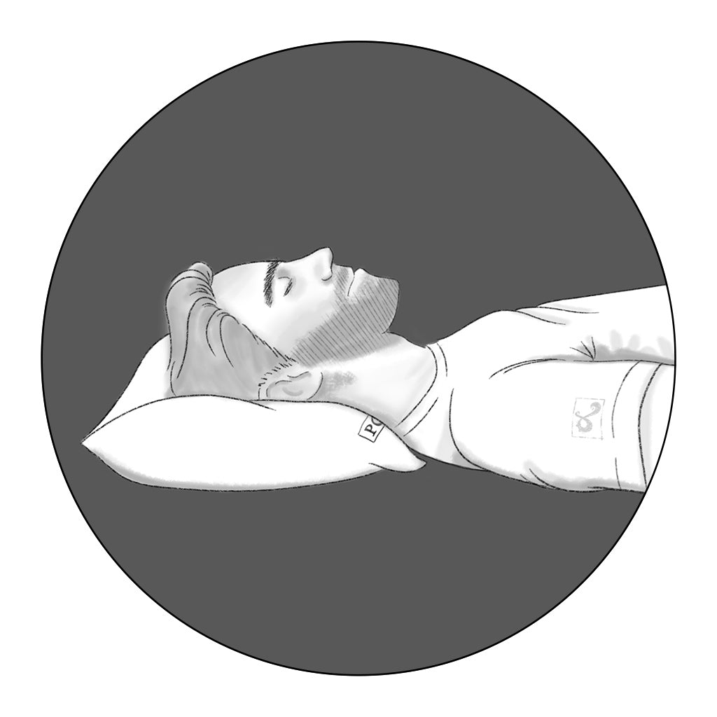 back sleeper icon illustration for Pillow Guy by loraine yow