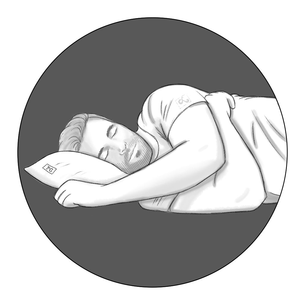side sleeper icon illustration for Pillow Guy by loraine yow