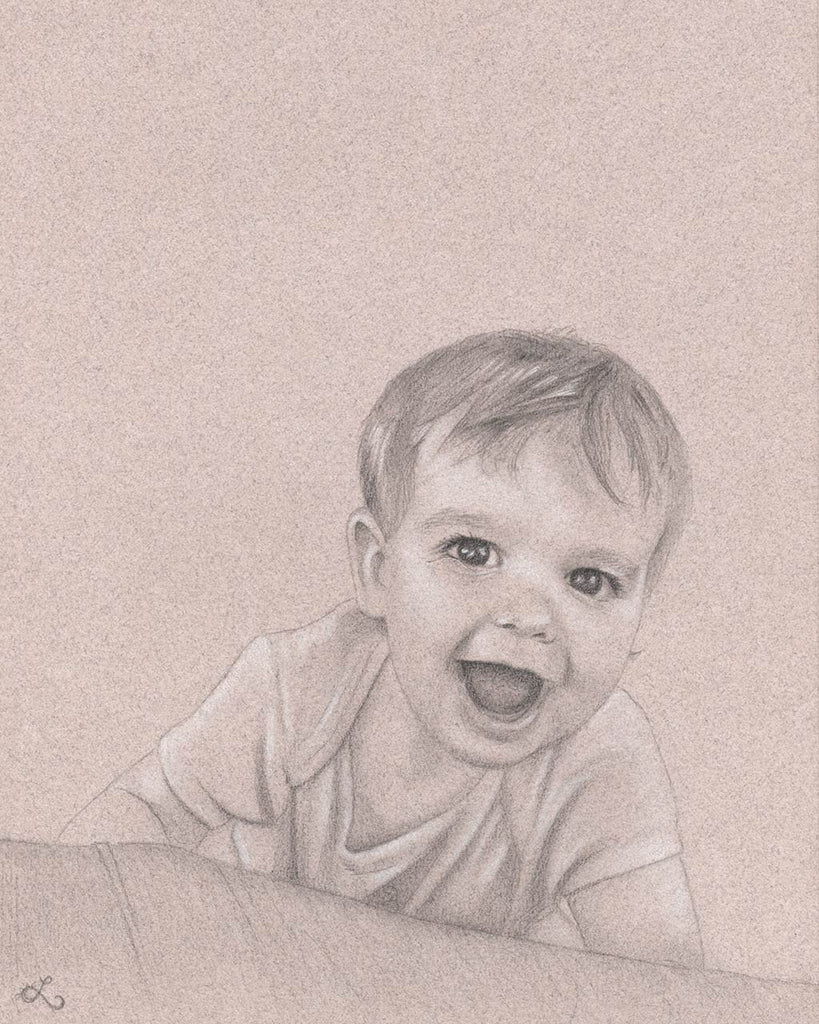custom portrait drawing gift toddler smiling pencil drawing