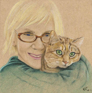 drawing of mom with her cat mothers portrait family portrait drawing cat lady gift mom and her cat drawing