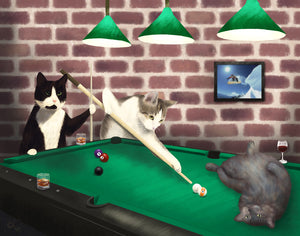 cats playing pools custom pet portrait painting loraine yow art