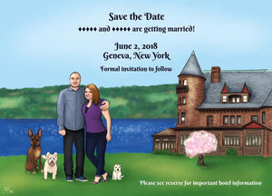 save the date portrait illustration by loraine yow lolo-ology