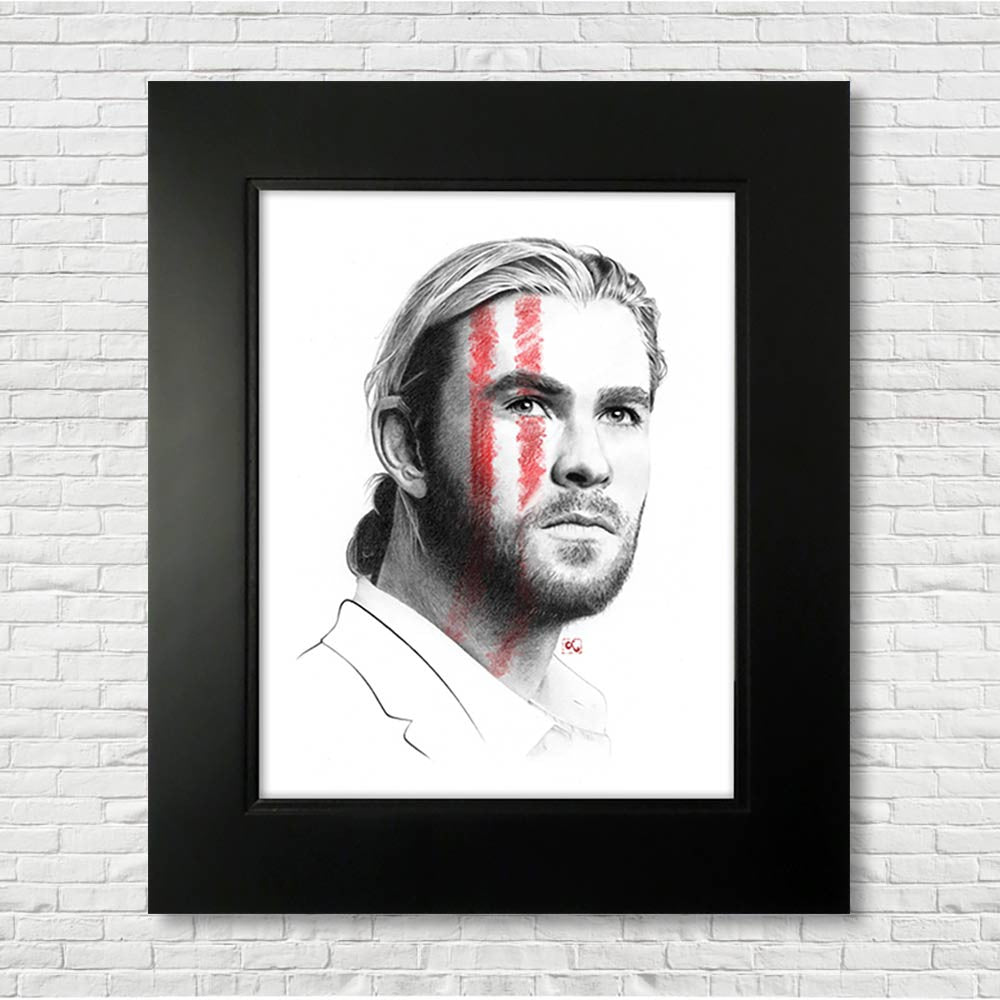 chris-hemsworth-drawing-portrait-thor-ragnarok-art-marvel-art-thor-stripes-on-face-framed