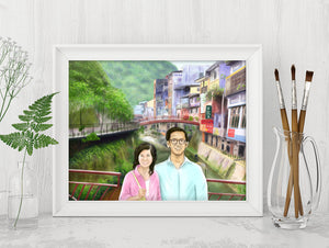 digital-painting-of-young-couple-in-scenic-mountain-village-digital-art-digital-family-portrait-mom-and-dad-memento-parents-anniversary-gift
