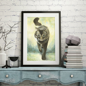 custom cat art cat watercolor painting cat gift cat portrait