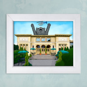 custom digital painting of giant pet cat behind historic building