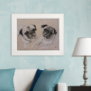 custom pet portrait pug art pet drawing dog painting memento