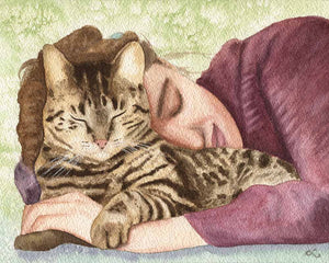 custom-cat-portrait-watercolor-cat-painting-photorealistic-cat-art-personalized-pet-portrait-cat-and-girl-sleeping-cat-lady-art