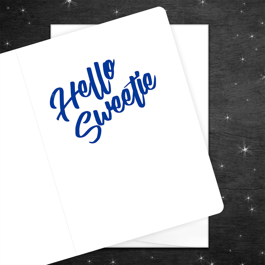 Doctor Who Card looks like River Song's TARDIS Journal inside says Hello Sweetie in sassy script