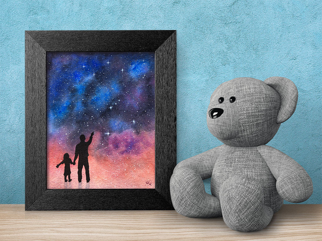 father-daughter-art-stem-girls-inspirational-poster-stargazing-galaxy-art-framed-science-art-gift