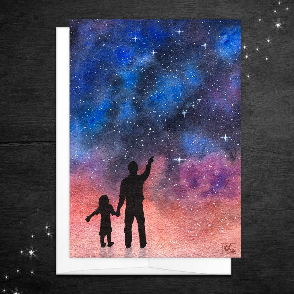 father daughter card science dad birthday card stargazing with dad geeky fathers day card orion constellation