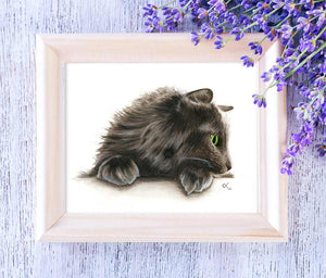 watercolor-painting-norwegian-forest-cat-nfc-art-gray-cat-green-eyes
