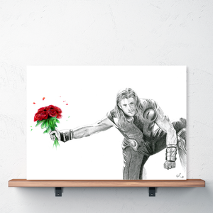 sexy thor poster romantic thor chris hemsworth boyfriend thor with roses marvel art chris hemsworth muscles