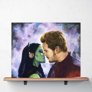 star lord and gamora kiss scene pelvic sorcery gotg poster guardians of the galaxy art