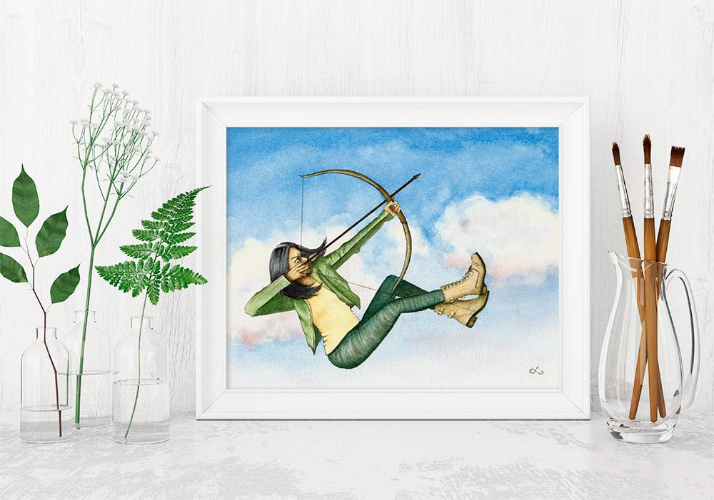 brave woman art archer girl poster female grit perserverance strong woman art