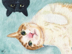 watercolor cat painting of 2 funny cats in a photorealistic style cat is laying on his ear