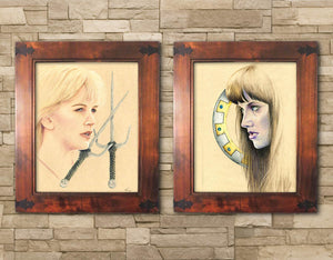 xena art print set xena and gabrielle lucy lawless renee oconnor portrait art